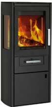 Bornholm Woodburning Stove, Steel Black+Side Glass